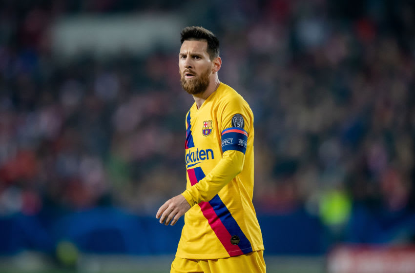 PRAGUE, CZECH REPUBLIC - OCTOBER 23: Lionel Messi of Barcelona reacts during the UEFA Champions League group F match between Slavia Praha and FC Barcelona at Eden Stadium on October 23, 2019 in Prague, Czech Republic. (Photo by Thomas Eisenhuth/Getty Images)