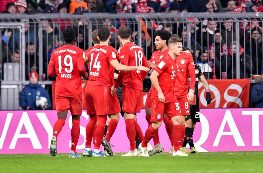 MUNICH, GERMANY - NOVEMBER 30: Players of FC Bayern Muenchen celebrate after scoring a goal at the Bundesliga match between FC Bayern Muenchen and Bayer 04 Leverkusen at Allianz Arena on November 30, 2019 in Munich, Germany. (Photo by Franz Kirchmayr/SEPA.Media /Getty Images)