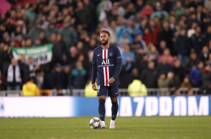 Neymar of Paris Saint-Germain during the UEFA Champions League group A match between Real Madrid and Paris Saint-Germain at the Santiago Bernabeu stadium on November 26, 2019 in Madrid, Spain(Photo by ANP Sport via Getty Images)
