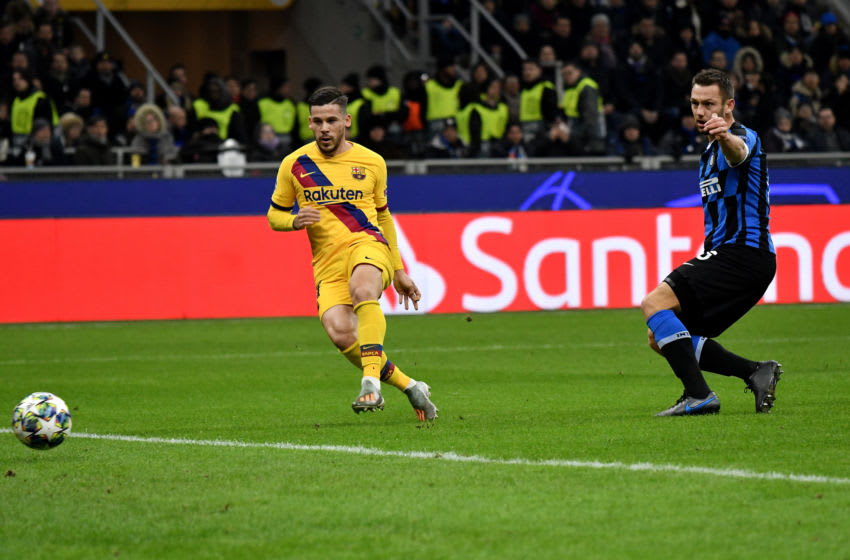STADIO SAN SIRO, MILANO, ITALY - 2019/12/10: Carles Perez of FC Barcelona scores the goal of 0-1 for his side during the UEFA Champions League group F match between FC Internazionale and FC Barcelona . FC Barcelona won 2-1 over FC Internazionale . (Photo by Andrea Staccioli/LightRocket via Getty Images)
