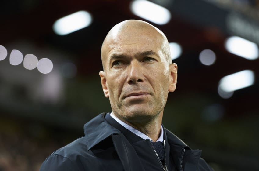 Zinedine Zidane of Real Madrid prior to the Liga match between Valencia CF and Real Madrid CF at Estadio Mestalla on December 15, 2019 in Valencia, Spain. (Photo by Jose Breton/Pics Action/NurPhoto via Getty Images)
