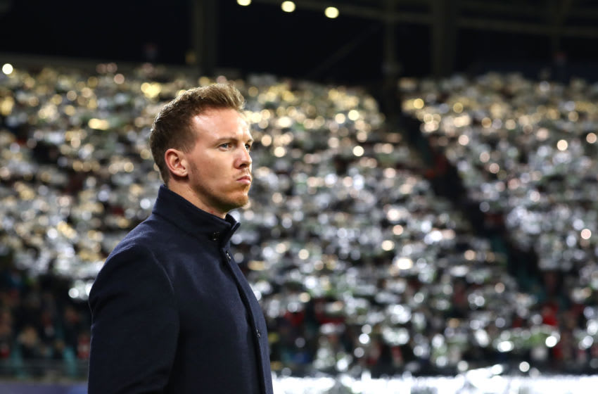 LEIPZIG, GERMANY - NOVEMBER 27: Julian Nagelsmann, Head Coach of RB Leipzig looks on prior to the UEFA Champions League group G match between RB Leipzig and SL Benfica at Red Bull Arena on November 27, 2019 in Leipzig, Germany. (Photo by Martin Rose/Bongarts/Getty Images)