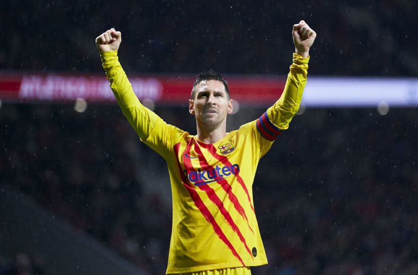 MADRID, SPAIN - DECEMBER 01: Lionel Messi of Barcelona celebrates after scoring his team's first goal during the Liga match between Club Atletico de Madrid and FC Barcelona at Wanda Metropolitano on December 01, 2019 in Madrid, Spain. (Photo by Quality Sport Images/Getty Images)