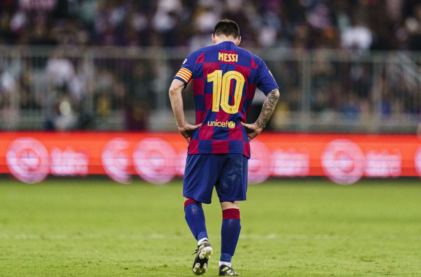 JEDDAH, SAUDI ARABIA - JANUARY 09: Lionel Messi of FC Barcelona walks in the field during the Supercopa de Espana Semi-Final match between FC Barcelona and Club Atletico de Madrid at King Abdullah Sports City on January 9, 2020 in Jeddah, Saudi Arabia. (Photo by Ricardo Nogueira/Eurasia Sport Images/Getty Images)