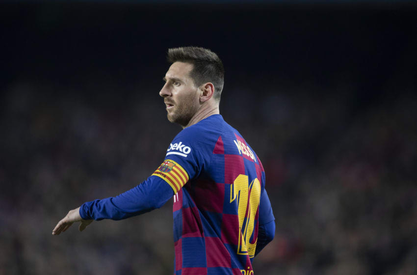 BARCELONA, SPAIN - December 7: Lionel Messi #10 of Barcelona takes a free kick during the Barcelona V Mallorca, La Liga regular season match at Estadio Camp Nou on December 7th 2019 in Barcelona, Spain. (Photo by Tim Clayton/Corbis via Getty Images)