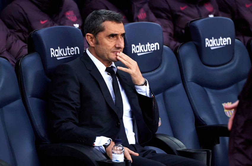 BARCELONA, SPAIN - DECEMBER 21: Head Coach Ernesto Valverde of FC Barcelona looks on before the La Liga match between FC Barcelona and Deportivo Alaves at Camp Nou on December 21, 2019 in Barcelona, Spain. (Photo by Alex Caparros/Getty Images)