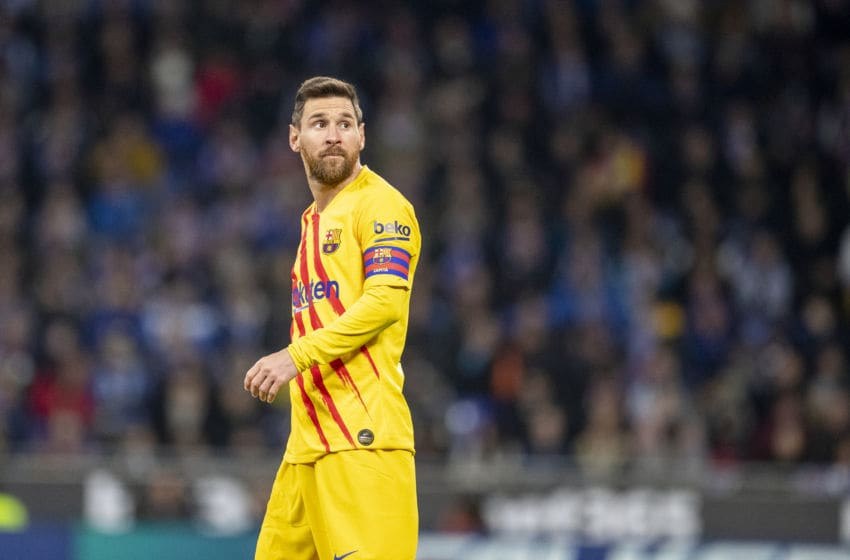 BARCELONA, SPAIN - January 04: Lionel Messi #10 of Barcelona during the Espanyol V Barcelona, La Liga regular season match at RCDE Stadium on January 4th 2020 in Barcelona, Spain. (Photo by Tim Clayton/Corbis via Getty Images)