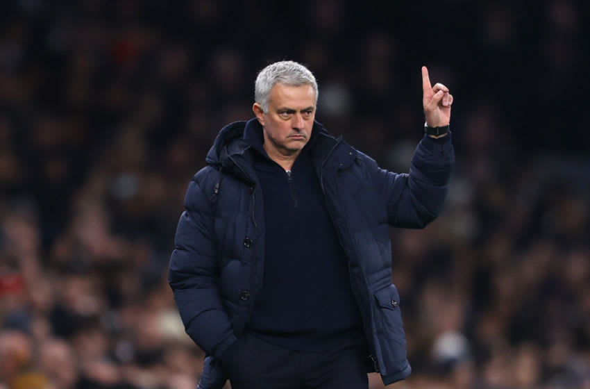 LONDON, ENGLAND - JANUARY 22: Jose Mourinho, Manager of Tottenham Hotspur during the Premier League match between Tottenham Hotspur and Norwich City at Tottenham Hotspur Stadium on January 22, 2020 in London, United Kingdom. (Photo by Richard Heathcote/Getty Images)