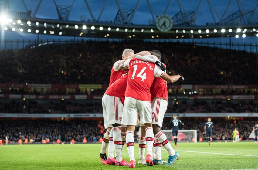 LONDON, ENGLAND - FEBRUARY 23: Pierre-Emerick Aubameyang of Arsenal FC celebrate with his team mates Nicolas Pepe, Héctor Bellerin, Eddie Nketiah after scoring his 2nd and his team's 3rd goal during the Premier League match between Arsenal FC and Everton FC at Emirates Stadium on February 23, 2020 in London, United Kingdom. (Photo by Sebastian Frej/MB Media/Getty Images)