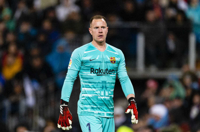 MADRID, SPAIN - MARCH 01: Goalkeeper Marc Ter Stegen of FC Barcelona walks in the field during the Liga match between Real Madrid CF and FC Barcelona at Estadio Santiago Bernabeu on March 1, 2020 in Madrid, Spain. (Photo by Eurasia Sport Images/Getty Images)