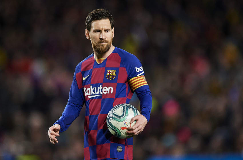 BARCELONA, SPAIN - MARCH 07: Lionel Messi of FC Barcelona looks on during the Liga match between FC Barcelona and Real Sociedad at Camp Nou on March 07, 2020 in Barcelona, Spain. (Photo by Silvestre Szpylma/Quality Sport Images/Getty Images)