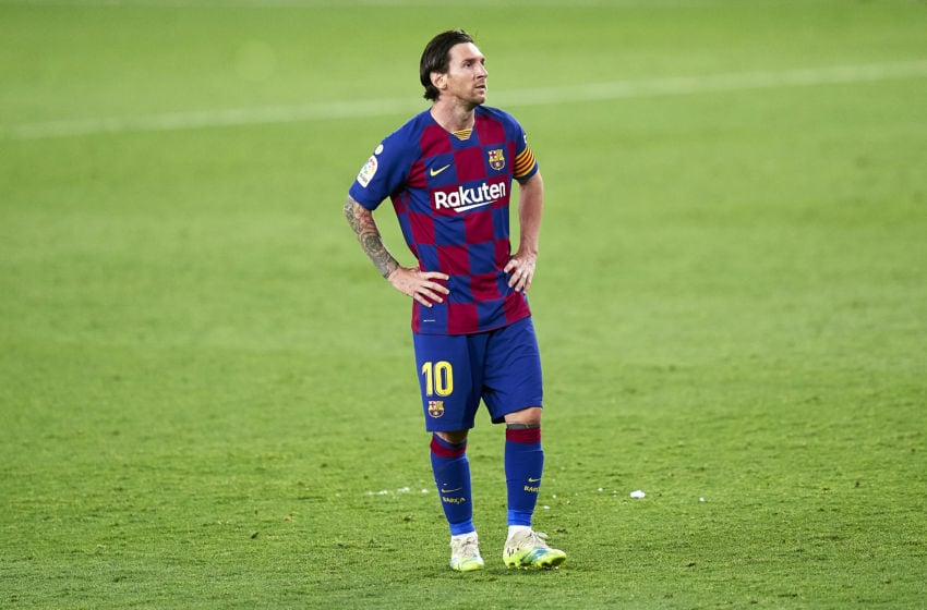 SEVILLE, SPAIN - JUNE 19: Lionel Messi of FC Barcelona reacts during the Liga match between Sevilla FC and FC Barcelona at Estadio Ramon Sanchez Pizjuan on June 19, 2020 in Seville, Spain. (Photo by Mateo Villalba/Quality Sport Images/Getty Images)