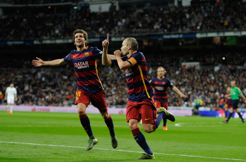 Andres Iniesta and Sergi Roberto, FC Barcelona. (Photo by Denis Doyle/Getty Images)