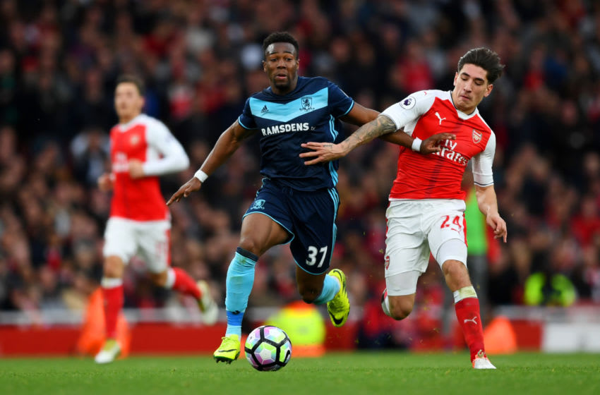 LONDON, ENGLAND - OCTOBER 22: Hector Bellerin of Arsenal (R) tackles Adama Traore of Middlesbrough (L) during the Premier League match between Arsenal and Middlesbrough at the Emirates Stadium on October 22, 2016 in London, England. (Photo by Shaun Botterill/Getty Images)