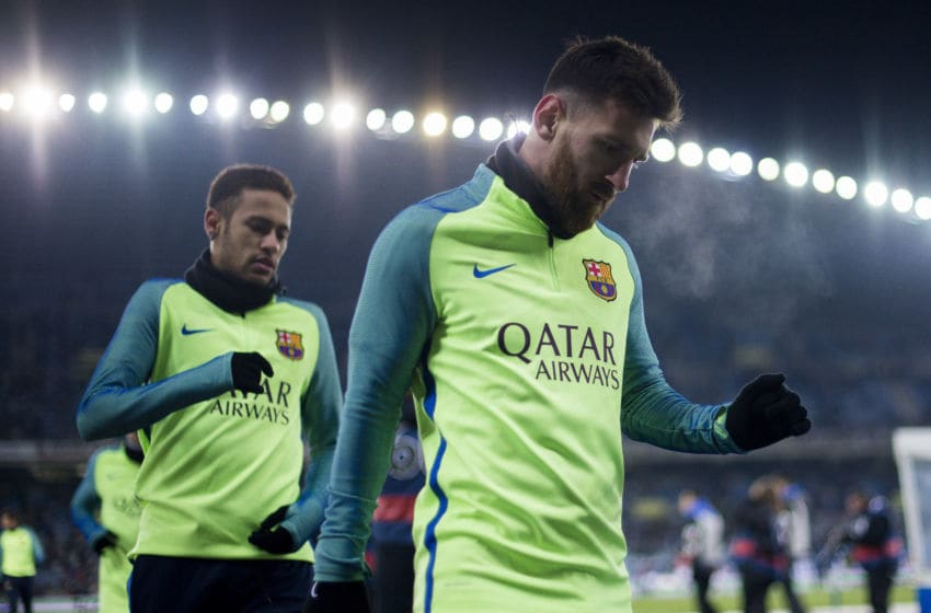 Lionel Messi and Neymar Jr. of FC Barcelona. (Photo by Juan Manuel Serrano Arce/Getty Images)