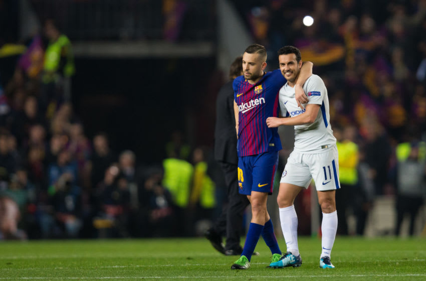 BARCELONA, SPAIN - MARCH 14: Barcelonas Jordi Alba talks with Chelsea's Pedro at full time during the UEFA Champions League Round of 16 Second Leg match FC Barcelona and Chelsea FC at Camp Nou on March 14, 2018 in Barcelona, Spain. (Photo by Craig Mercer - CameraSport via Getty Images)
