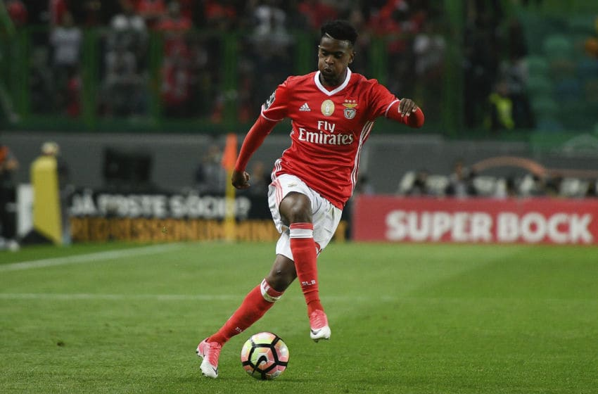 LISBON, PORTUGAL - APRIL 22: Nelson Semedo of Benfica drives the ball during a match between Sporting CP and SL Benfica as part of Portuguese Primeira Liga at Estadio Jose Alvalade on April 22, 2017 in Lisbon, Portugal. (Photo by Bruno de Carvalho/Brazil Photo Press/LatinContent/Getty Images)