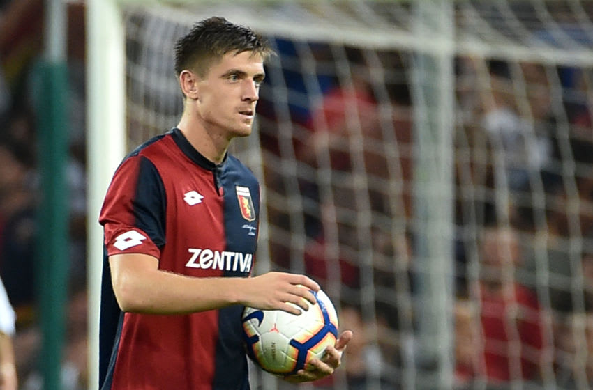 GENOA, GE - AUGUST 11: Krzysztof Piatek with the Ball of the Match at the and of Coppa Italia match between Genoa CFC and Lecce at Stadio Luigi Ferraris on August 11, 2018 in Genoa, Italy. (Photo by Paolo Rattini/Getty Images)