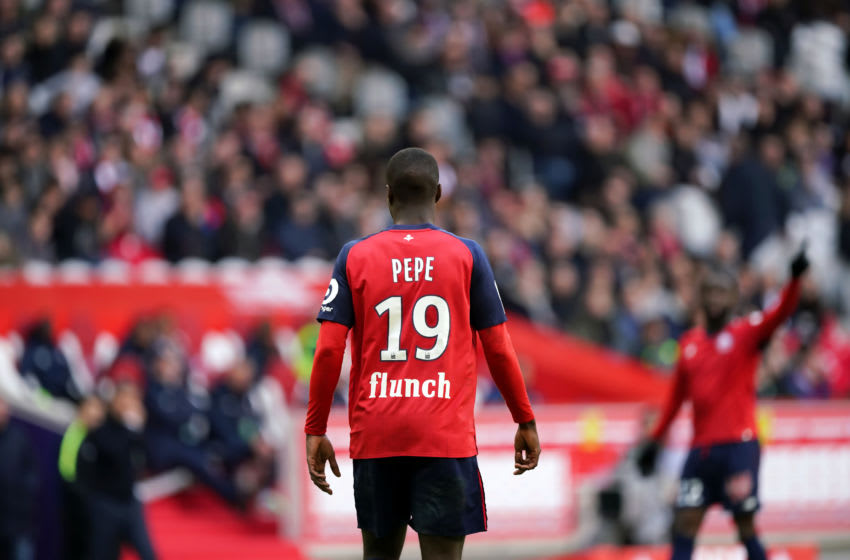 LILLE, FRANCE - FEBRUARY 17: Lille's Nicolas Pepe during the Ligue 1 match between Lille and Montpellier at Stade Pierre Mauroy on February 17, 2019 in Lille, France. (Photo by Sylvain Lefevre/Getty Images)