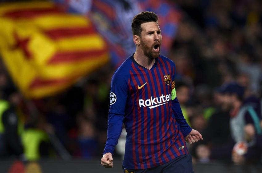 Lionel Messi of Barcelona celebrates after scoring his sides second goal during the UEFA Champions League Round of 16 Second Leg match between FC Barcelona and Olympique Lyonnais at Nou Camp on March 13, 2019 in Barcelona, Spain. (Photo by Jose Breton/NurPhoto via Getty Images)