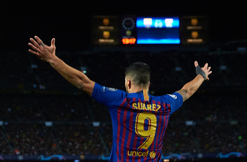 BARCELONA, SPAIN - MARCH 13: Luis Suarez of FC Barcelona reacts during the UEFA Champions League Round of 16 Second Leg match between FC Barcelona and Olympique Lyonnais at Nou Camp on March 13, 2019 in Barcelona, Spain. (Photo by David Aliaga/MB Media/Getty Images)