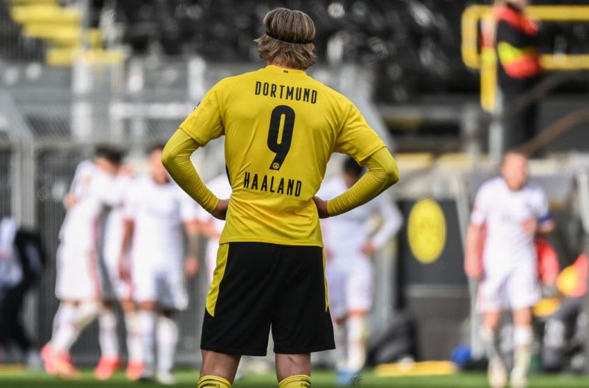 Dortmund's Norwegian forward Erling Braut Haaland. (Photo by INA FASSBENDER/POOL/AFP via Getty Images)