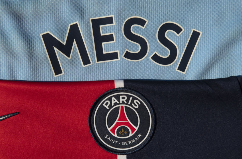 Messi on the back of a Manchester City home shirt with the Paris Saint-Germain club badge. (Photo by Visionhaus)