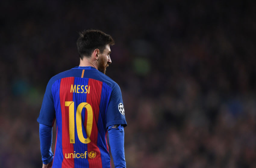 Lionel Messi in action during the match between FC Barcelona and Paris Saint-Germain. (Photo by Michael Regan/Getty Images)