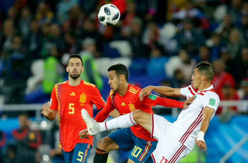 KALININGRAD, RUSSIA - JUNE 25: (L-R) Thiago of Spain, Faycal Fajr of Morocco during the World Cup match between Spain v Morocco at the Kaliningrad Stadium on June 25, 2018 in Kaliningrad Russia (Photo by Peter Lous/Soccrates/Getty Images)