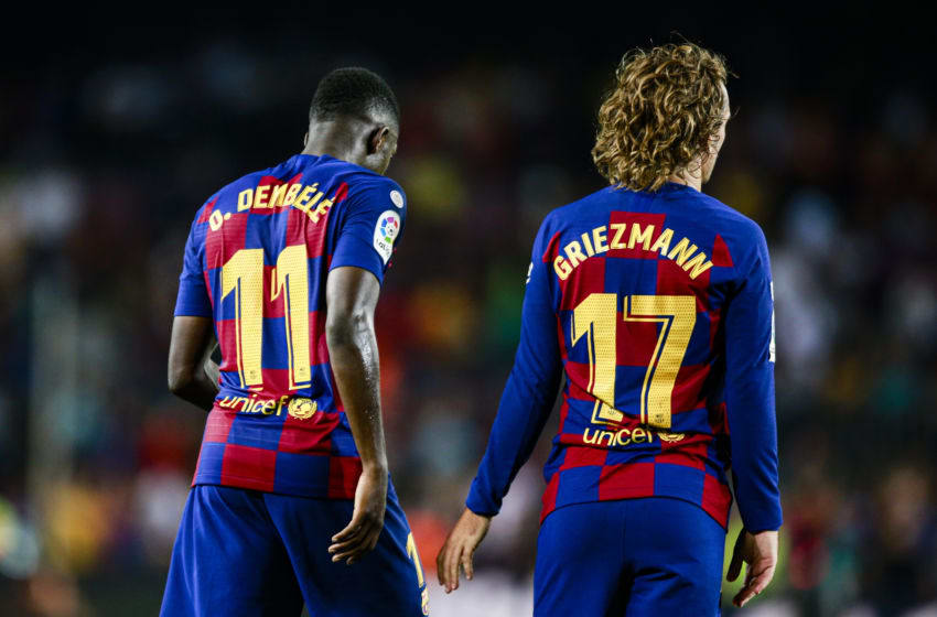 11 Ousmane Dembele from France of FC Barcelona and 17 Antoine Griezmann from France of FC Barcelona during the La Liga match between FC Barcelona and Vilareal in Camp Nou Stadium in Barcelona 24 of September of 2019, Spain. (Photo by Xavier Bonilla/NurPhoto via Getty Images)