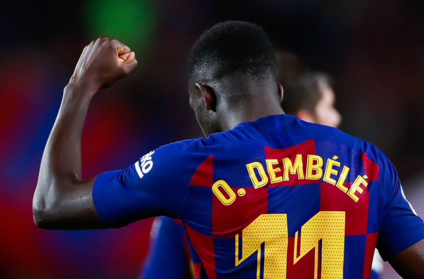 BARCELONA, SPAIN - OCTOBER 06: Ousmane Dembele of FC Barcelona celebrates the 3-0 during the Liga match between FC Barcelona and Sevilla FC at Camp Nou on October 06, 2019 in Barcelona, Spain. (Photo by Eric Alonso/MB Media/Getty Images)
