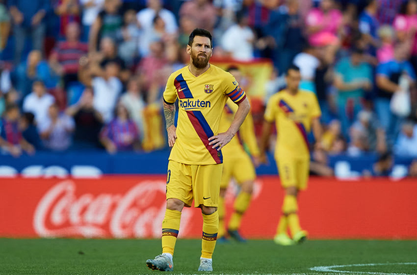 VALENCIA, SPAIN - NOVEMBER 02: Leo Messi of FC Barcelona reacts during the Liga match between Levante UD and FC Barcelona at Ciutat de Valencia on November 2, 2019 in Valencia, Spain. (Photo by David Aliaga/MB Media/Getty Images)