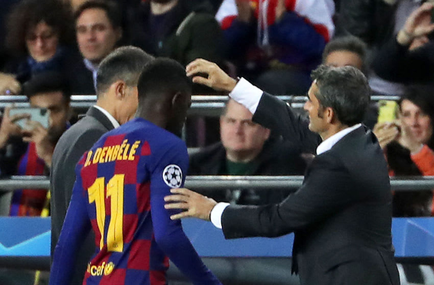 Ousmane Dembele is injured during the match between FC Barcelona and Borussia Dortmund, corresponding to the week 5 of the group stage of the UEFA Champions League, on 27 November 2019, in Barcelona, Spain. -- (Photo by Urbanandsport/NurPhoto via Getty Images)