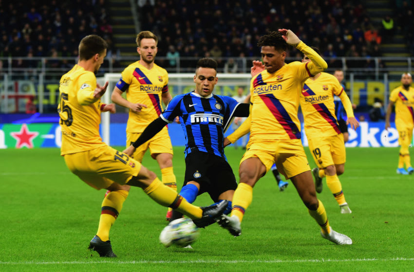 (L-R) Clement Lenget of FC Barcelona, Lautaro Martinez of FC Internazionale and Jean-Clair Todibo of FC Barcelona. (Photo by Pier Marco Tacca/Getty Images)