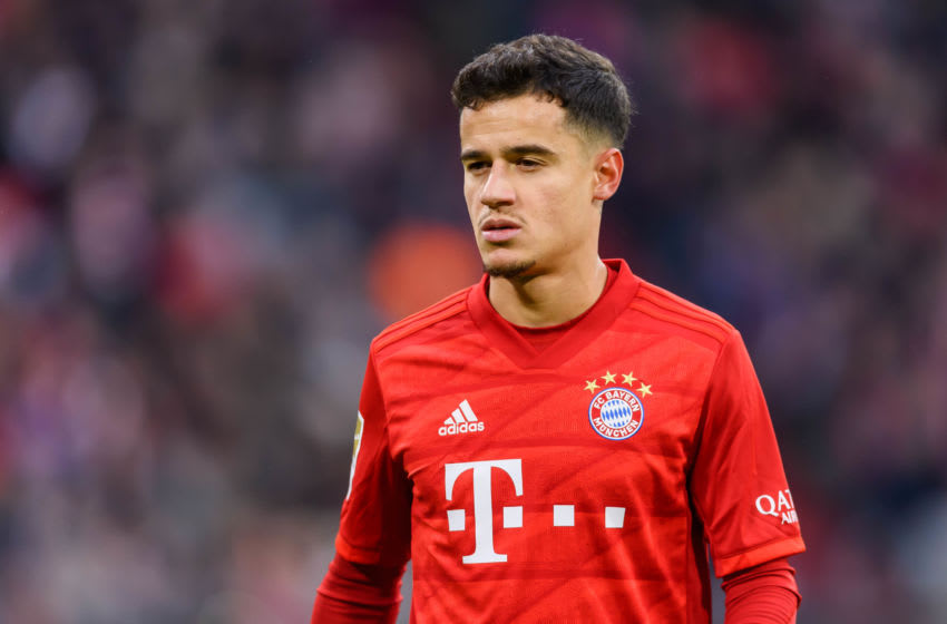 MUNICH, GERMANY - DECEMBER 21: (BILD ZEITUNG OUT) Philippe Coutinho of FC Bayern Muenchen looks on during the Bundesliga match between FC Bayern Muenchen and VfL Wolfsburg at Allianz Arena on December 21, 2019 in Munich, Germany. (Photo by TF-Images/Getty Images)