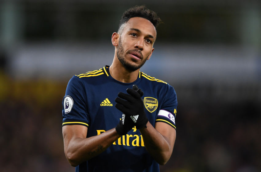 NORWICH, ENGLAND - DECEMBER 01: Pierre-Emerick Aubameyang of Arsenal applauds fans after the Premier League match between Norwich City and Arsenal FC at Carrow Road on December 01, 2019 in Norwich, United Kingdom. (Photo by Harriet Lander/Copa/Getty Images)