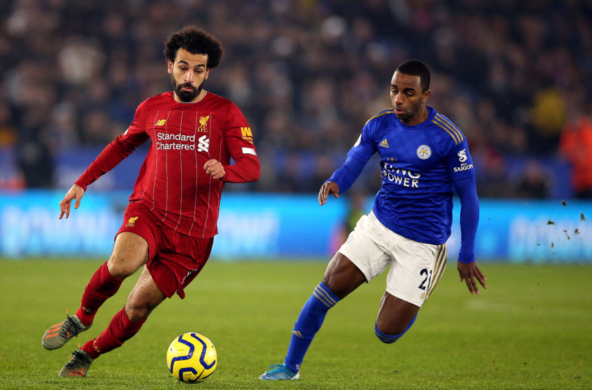 Liverpool's Mohamed Salah (left) and Leicester City's Ricardo Pereira battle for the ball Leicester City v Liverpool - Premier League - King Power Stadium 26-12-2019 . (Photo by Nigel French/EMPICS/PA Images via Getty Images)