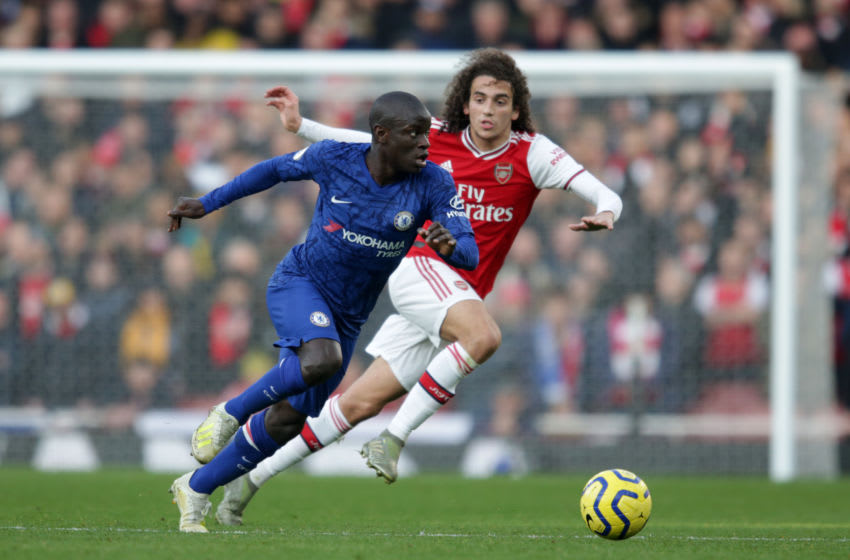 LONDON, ENGLAND - DECEMBER 29: Ngolo Kante of Chelsea and Matteo Guendouzi of Arsenal of Arsenal during the Premier League match between Arsenal FC and Chelsea FC at Emirates Stadium on December 29, 2019 in London, United Kingdom. (Photo by Robin Jones/Getty Images)