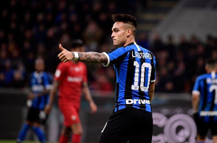 MILAN, ITALY - JANUARY 29: Lautaro Martinez of Inter during the Italian Coppa Italia match between Internazionale v Fiorentina at the San Siro on January 29, 2020 in Milan Italy (Photo by Mattia Ozbot/Soccrates/Getty Images)