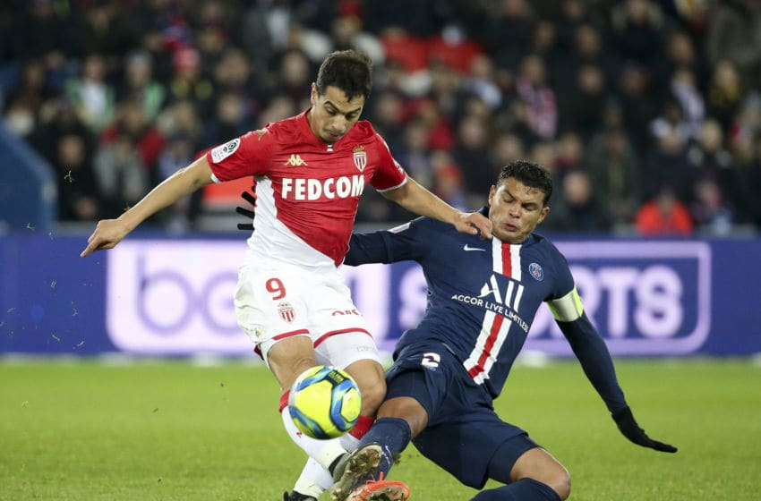 PARIS, FRANCE - JANUARY 12: Wissam Ben Yedder of Monaco, Thiago Silva of PSG during the Ligue 1 match between Paris Saint-Germain (PSG) and AS Monaco (ASM) at Parc des Princes stadium on January 12, 2020 in Paris, France. (Photo by Jean Catuffe/Getty Images)