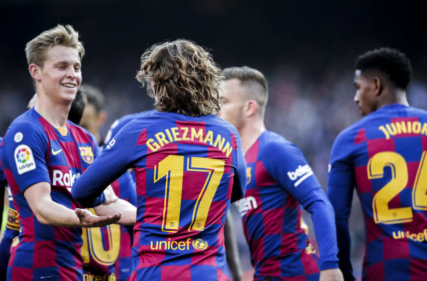 BARCELONA, SPAIN - FEBRUARY 15: (L-R) Frenkie de Jong of FC Barcelona, Antoine Griezmann of FC Barcelona celebrates goal 1-0 during the La Liga Santander match between FC Barcelona v Getafe at the Camp Nou on February 15, 2020 in Barcelona Spain (Photo by David S. Bustamante/Soccrates/Getty Images)