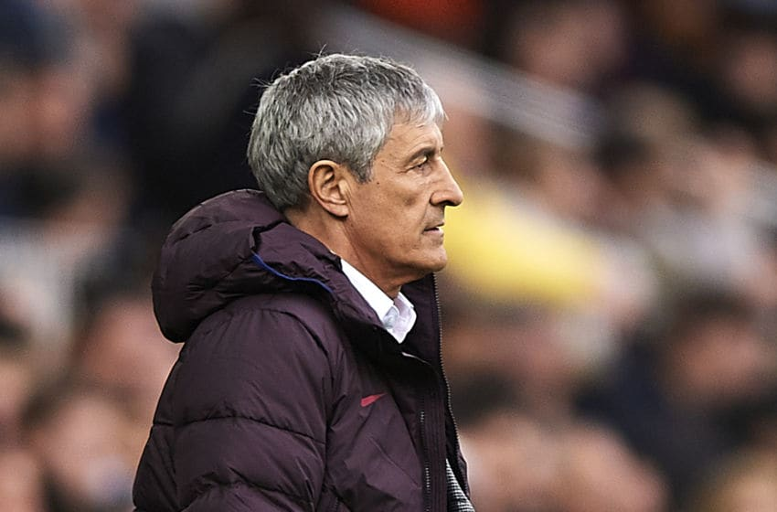 VALENCIA, SPAIN - JANUARY 25: Quique Setien, Manager of FC Barcelona looks on during the Liga match between Valencia CF and FC Barcelona at Estadio Mestalla on January 25, 2020 in Valencia, Spain. (Photo by Quality Sport Images/Getty Images)