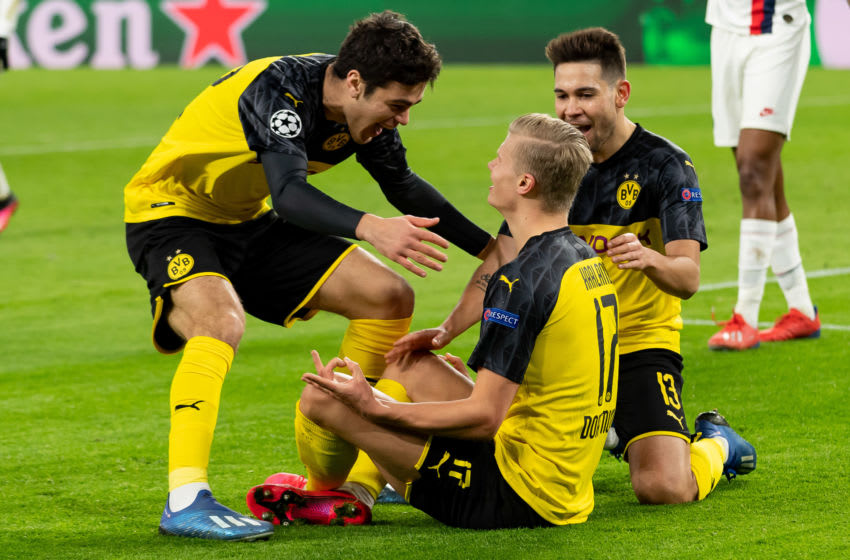 Haaland of Borussia Dortmund with Giovanni Reyna of Borussia Dortmund and Rap. (Photo by DeFodi Images via Getty Images)