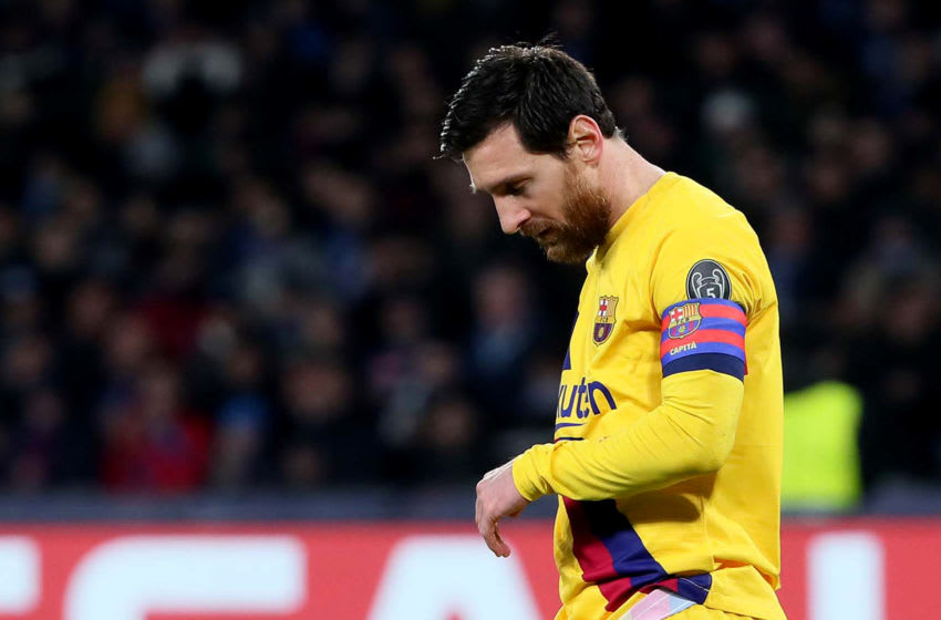 NAPLES, ITALY - FEBRUARY 25: Lionel Messi of FC Barcelona disappointed ,during the UEFA Champions League round of 16 first leg match between SSC Napoli and FC Barcelona at Stadio San Paolo on February 25, 2020 in Naples, Italy. (Photo by MB Media/Getty Images)