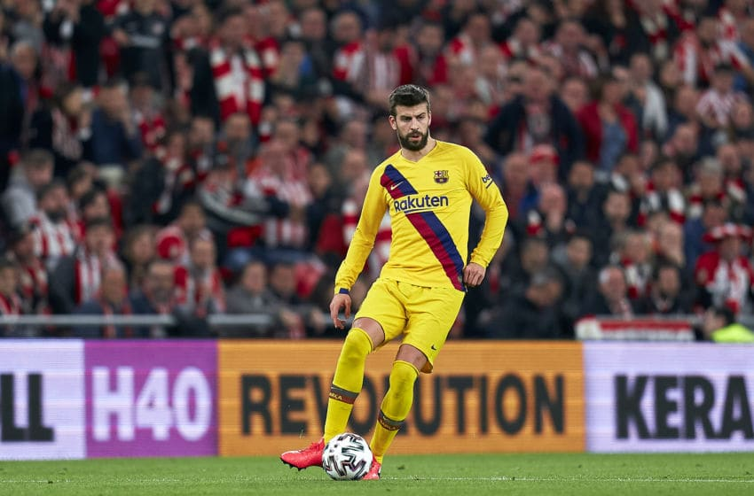 BILBAO, SPAIN - FEBRUARY 06: Gerard Pique of FC Barcelona with the ball during the Copa del Rey Quarter Final match between Athletic Bilbao and FC Barcelona at Estadio de San Mames on February 06, 2020 in Bilbao, Spain. (Photo by Quality Sport Images/Getty Images)