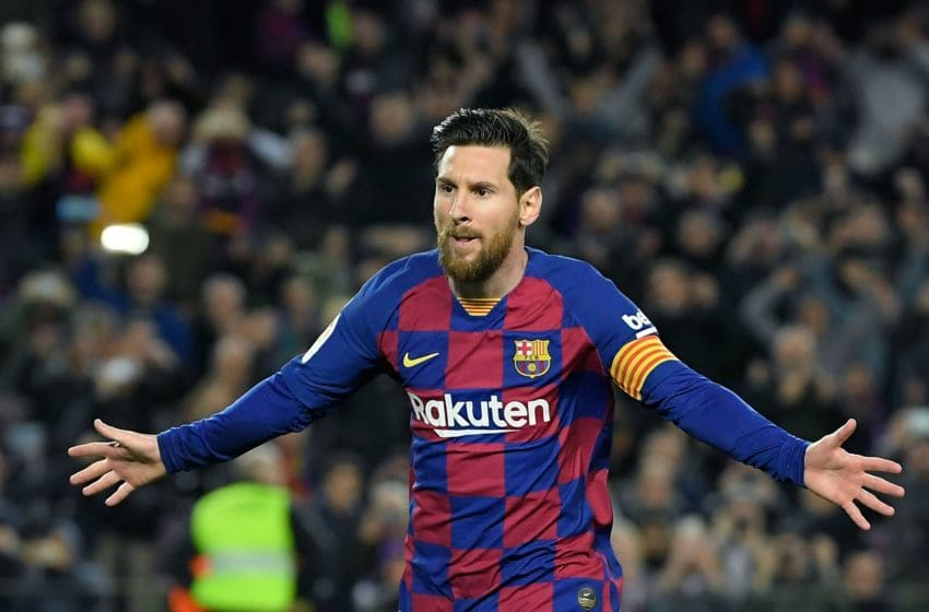 Barcelona's Argentine forward Lionel Messi Photo by LLUIS GENE / AFP) (Photo by LLUIS GENE/AFP via Getty Images)