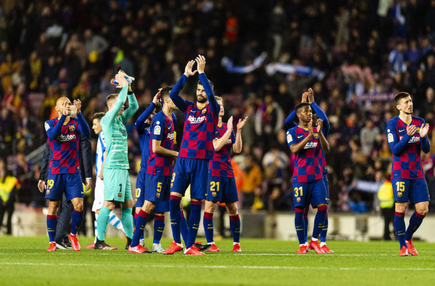 BARCELONA, SPAIN - MARCH 07: FC Barcelona players celebrating after winning Real Sociedad during the Liga match between FC Barcelona and Real Sociedad at Camp Nou on March 7, 2020 in Barcelona, Spain. (Photo by Eurasia Sport Images/Getty Images)