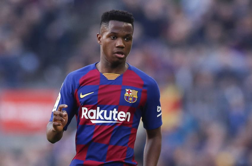 BARCELONA, SPAIN - FEBRUARY 15: Ansu Fati of FC Barcelona pass the ball during the Liga match between FC Barcelona and Getafe CF at Camp Nou on February 15, 2020 in Barcelona, Spain. (Photo by Eric Alonso/Getty Images)