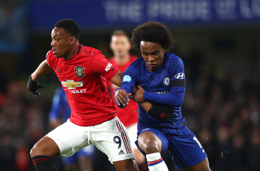 LONDON, ENGLAND - FEBRUARY 17: Anthony Martial of Manchester United and Willian of Chelsea FC in action during the Premier League match between Chelsea FC and Manchester United at Stamford Bridge on February 17, 2020 in London, United Kingdom. (Photo by Chloe Knott - Danehouse/Getty Images)