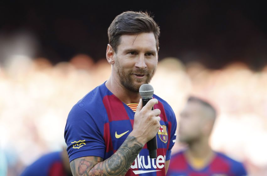 Lionel Messi of FC Barcelona with microphone during the Trofeu Joan Gamper match between FC Barcelona and Arsenal FC at the Camp Nou stadium on August 04, 2019 in Barcelona, Spain(Photo by ANP Sport via Getty Images)